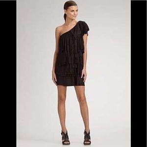 BCBGMAXAZRIA Sz S Black One Shoulder Tiered Dress